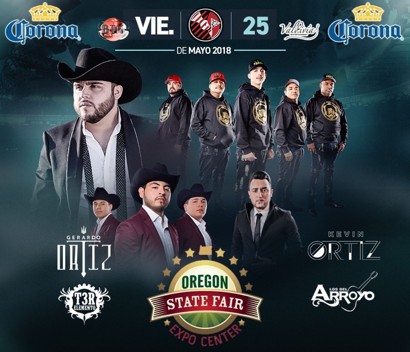 Gerardo Ortiz, T3R Elemento, Kevin Ortiz y Los del Arroyo – Oregon State Fair Expo Center – Salem, OR