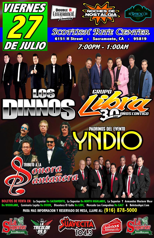 Los Dinnos, Grupo Libra, Tributo a la Sonora Santanera y La Actuacion Especial de Yndio – Scottish Rite Center – Sacramento, CA