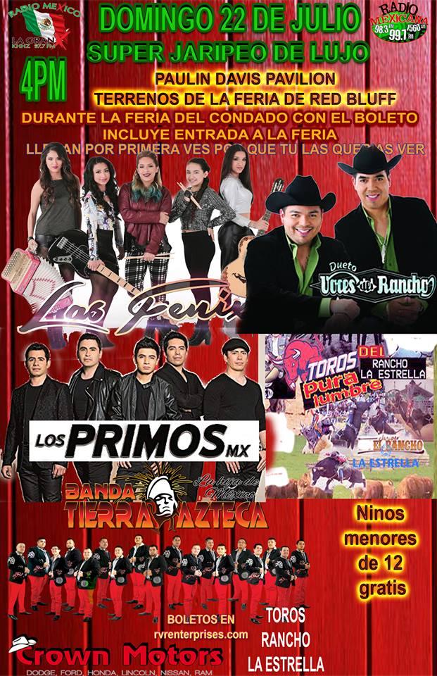 Las Fenix, Dueto Voces del Rancho, Los Primos MX, Banda Tierra Azteca y Toros Pura Lumbre del Rancho La Estrella – Salon Pauline Davis Pavilion – Red Bluff, CA