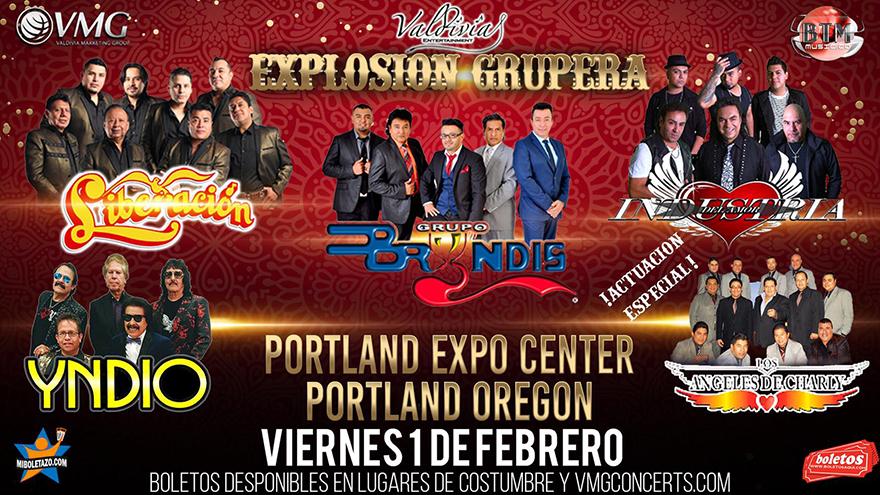 Explosion Grupera con Liberacion, Grupo Bryndis, Industria del Amor, Yndio y la Actuacion Especial de Los Angeles de Charly – Expo Center de Portland, OR