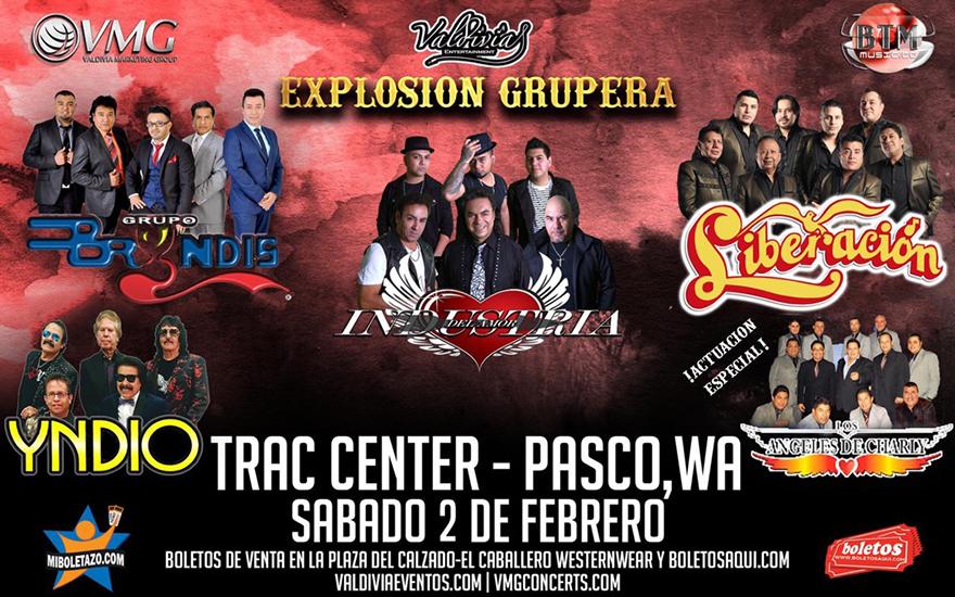 Grupo Bryndis, Industria del Amor, Yndio, Liberacion y la actuacion especial de Angeles de Charly – Trac Center – Pasco, WA