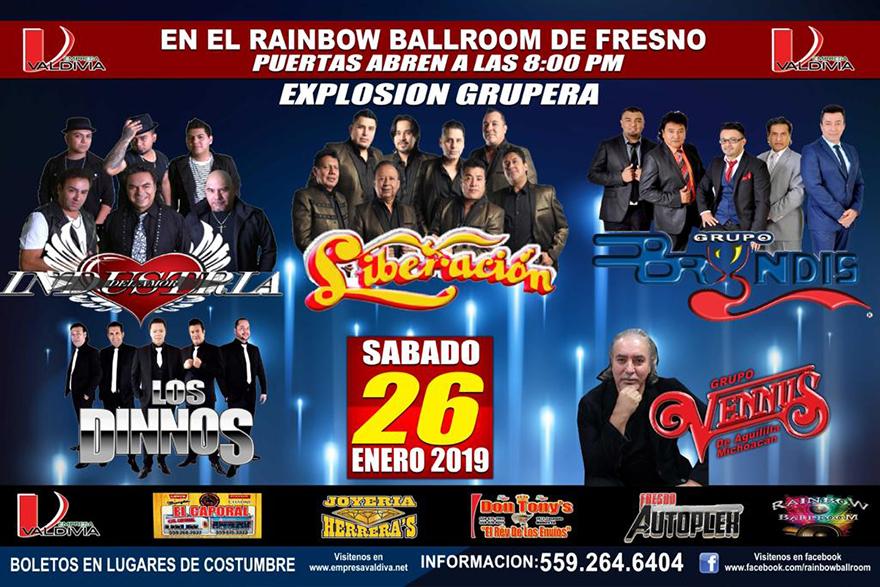 Explosion Grupera con Industria del Amor, Grupo Liberacion, Grup Bryndis, Los Dinnos y Grupo Vennus – Rainbow Ballroom de Fresno, CA