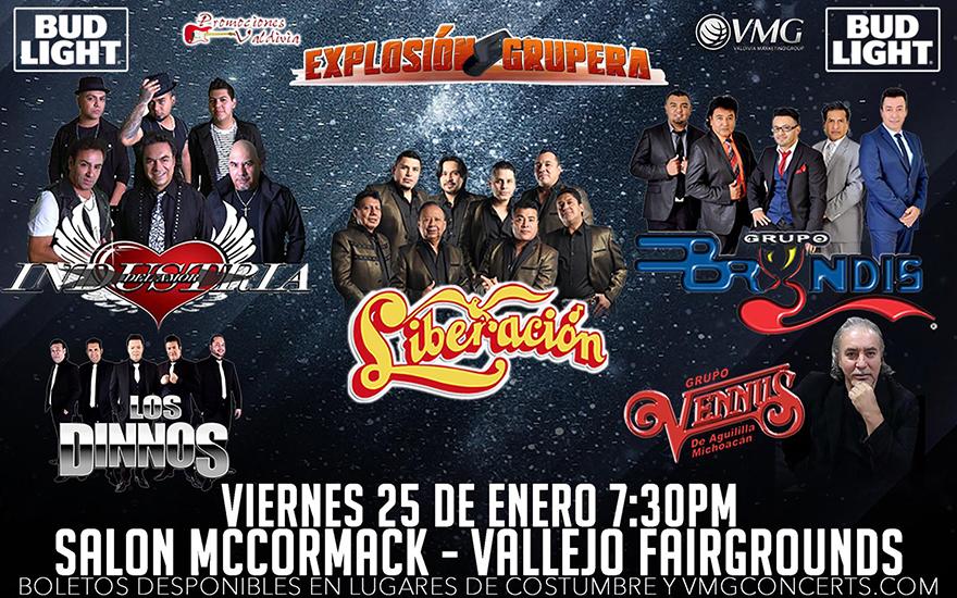 Explosion Grupera – Industria del Amor, Grupo Liberacion, Los Dinnos, Grupo Bryndis y Grupo Vennus – Salon McCormack – Vallejo, CA