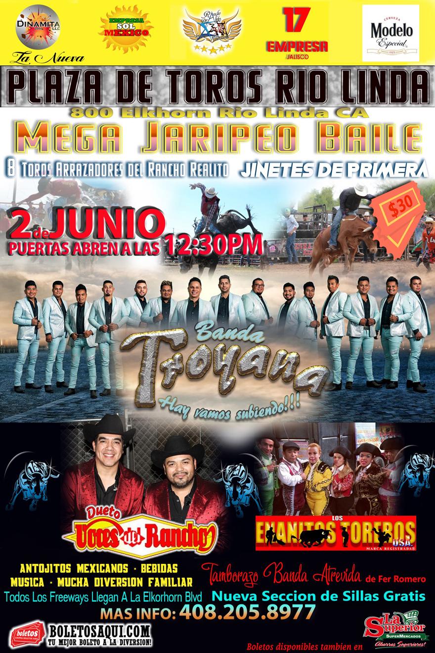 Mega Jaripeo Baile con Banda Troyana, Dueto Voces del Rancho, Tamborazo Banda Atrevida y el show de Los Enanitos Toreros – Plaza de Toros Rio Linda