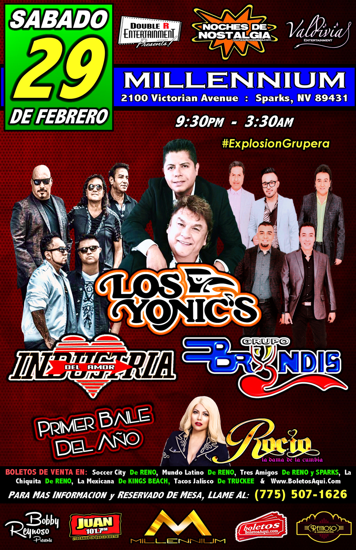 Explosion Grupera con Los Yonics, Industria del Amor, Grupo Bryndis y Rocio la Dama de la Cumbia. – Millennium – Sparks, NV