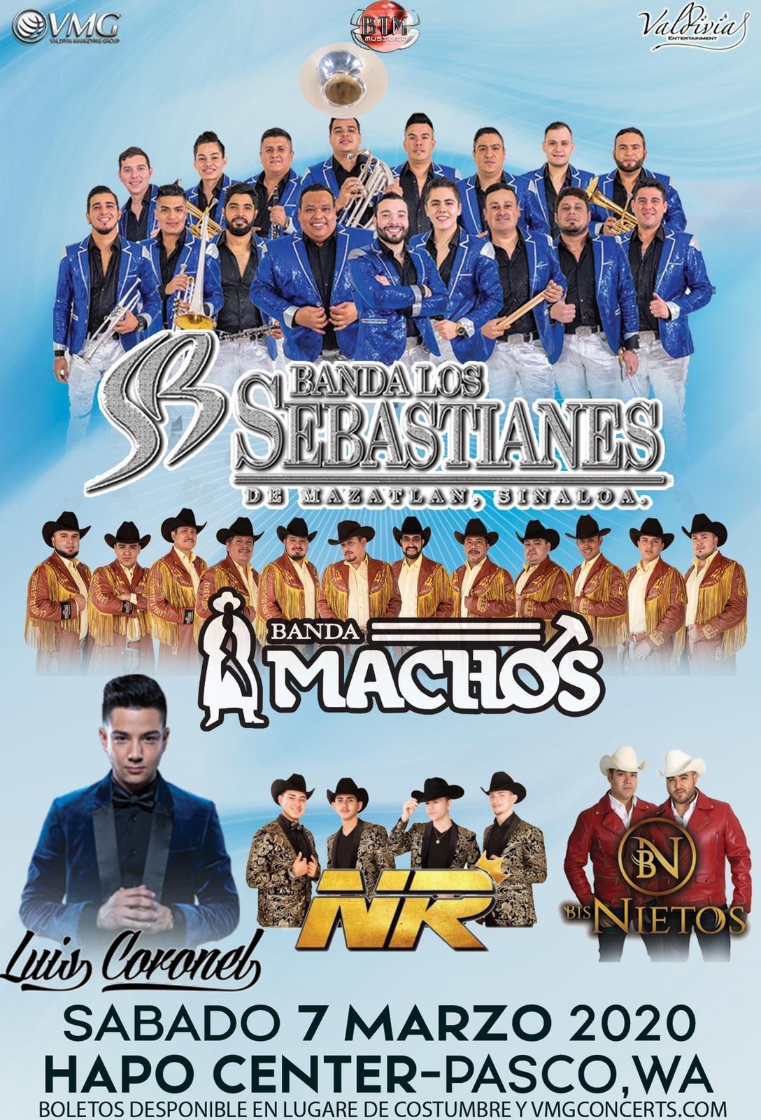 Banda Los Sebastianes, Banda Machos, Luis Coronel, NR y Los Bisnietos. – Hapo Center de Pasco, WA