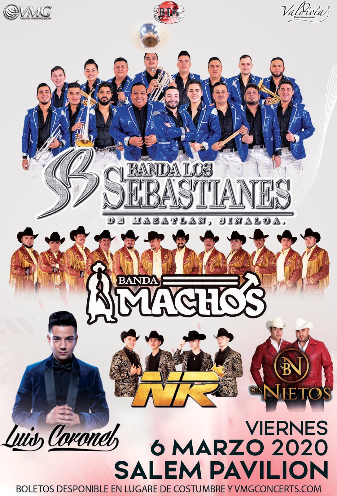 Banda Los Sebastianes, Banda Machos, Bisnietos, NR, y Luis Coronel – Salem Pavilion de Salem, OR