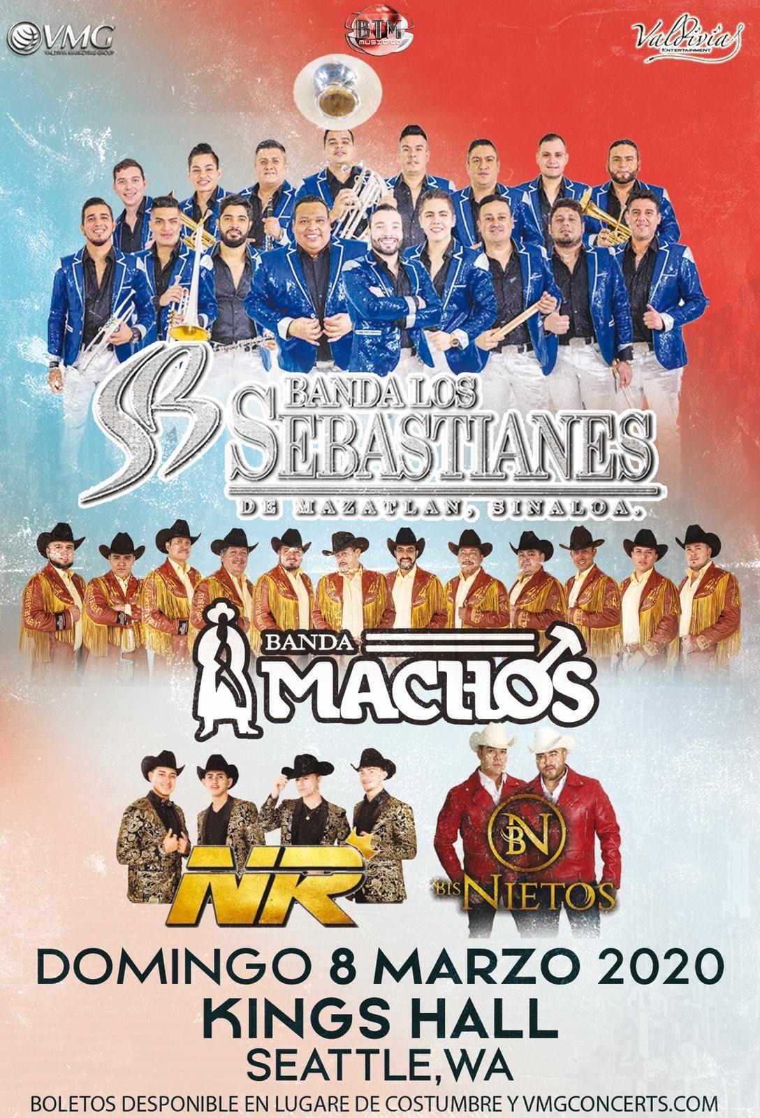 Banda Los Sebastianes, Banda Machos, NR, y Los Bisnietos. – Kings Hall de Seattle, WA