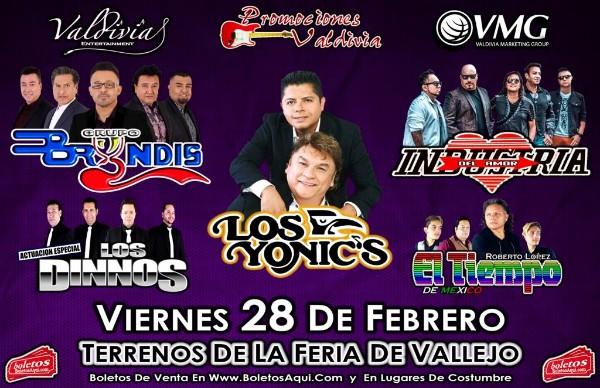 Los Yonics, Industria del Amor, Grupo Bryndis, El  Tiempo de Mexico y la actuacion especial de Los Dinnos. – Terrenos de la feria de Solano, Vallejo, CA