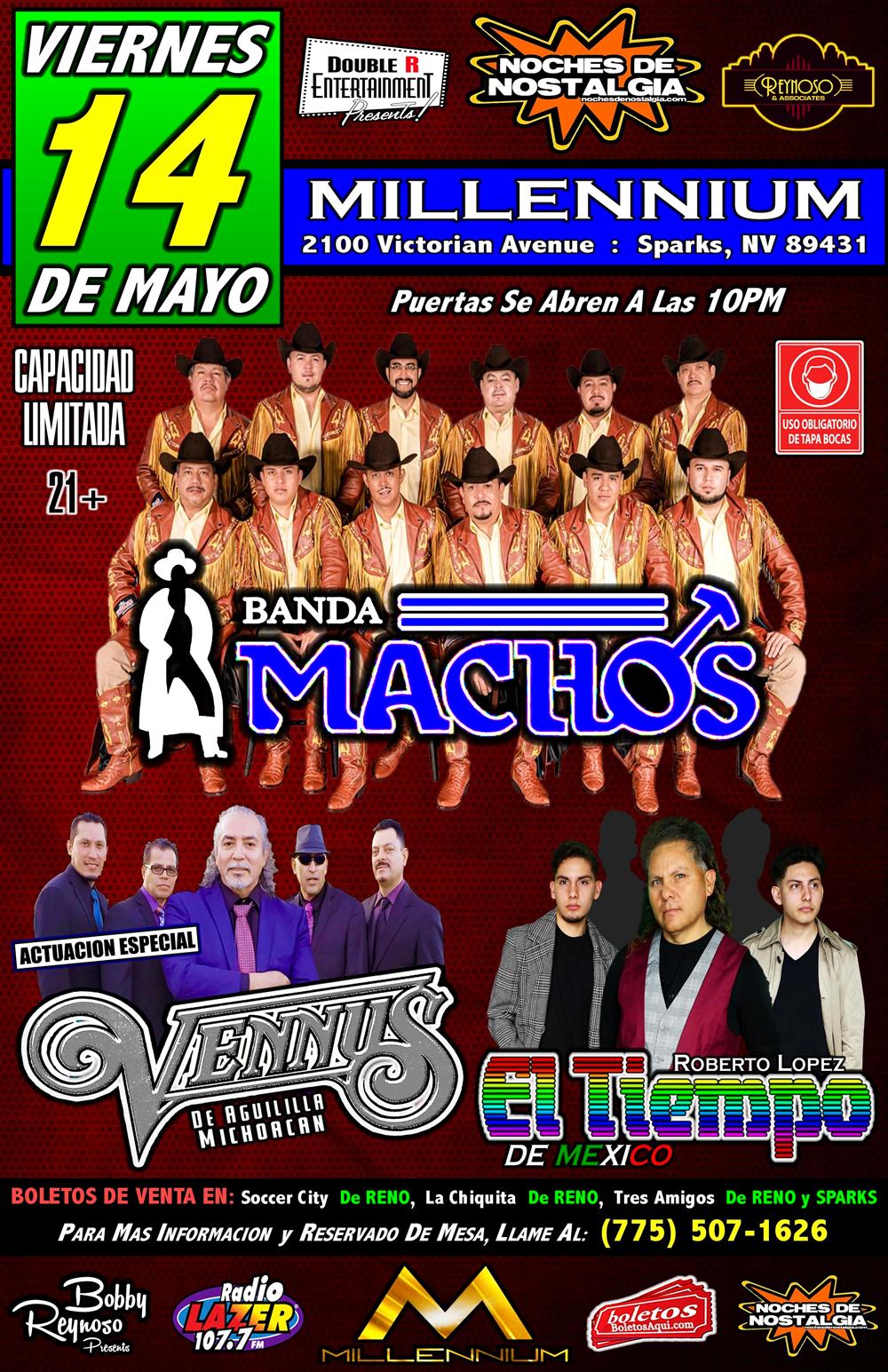 """BANDA MACHOS GRUPO EL TIEMPO Actuación Súper Especial """"GRUPO VENNUS"""" – Millennium Night Club – Sparks, NV"""