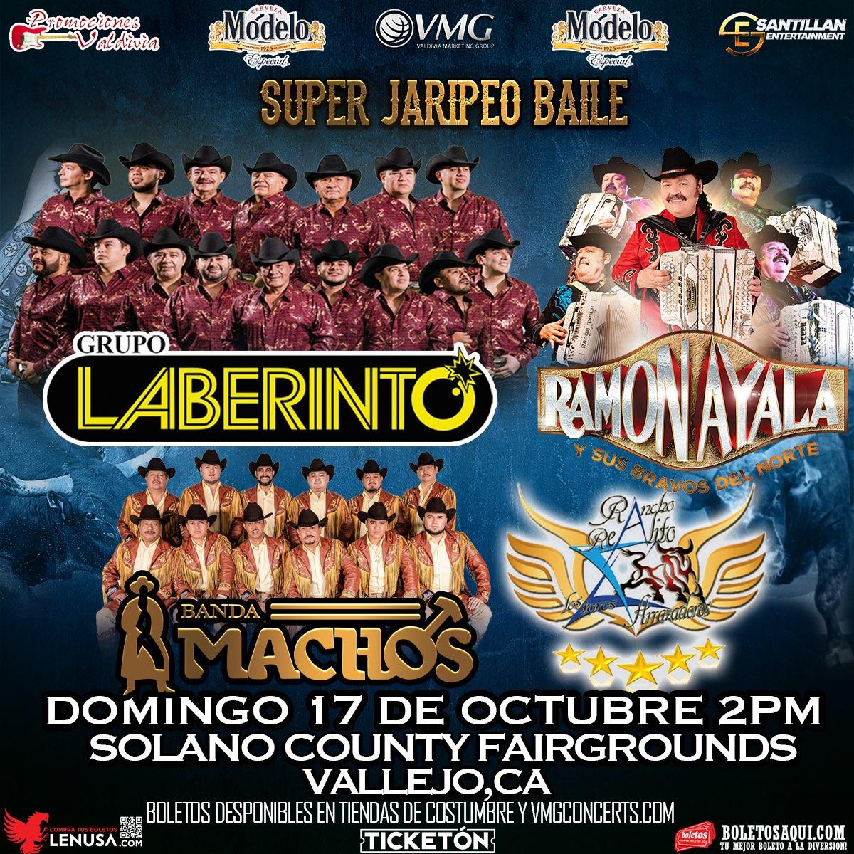 Super Jaripeo Baile con Grupo Laberinto, Ramon Ayala y Banda Machos. – Terrenos de la Feria de Solano – Vallejo, CA