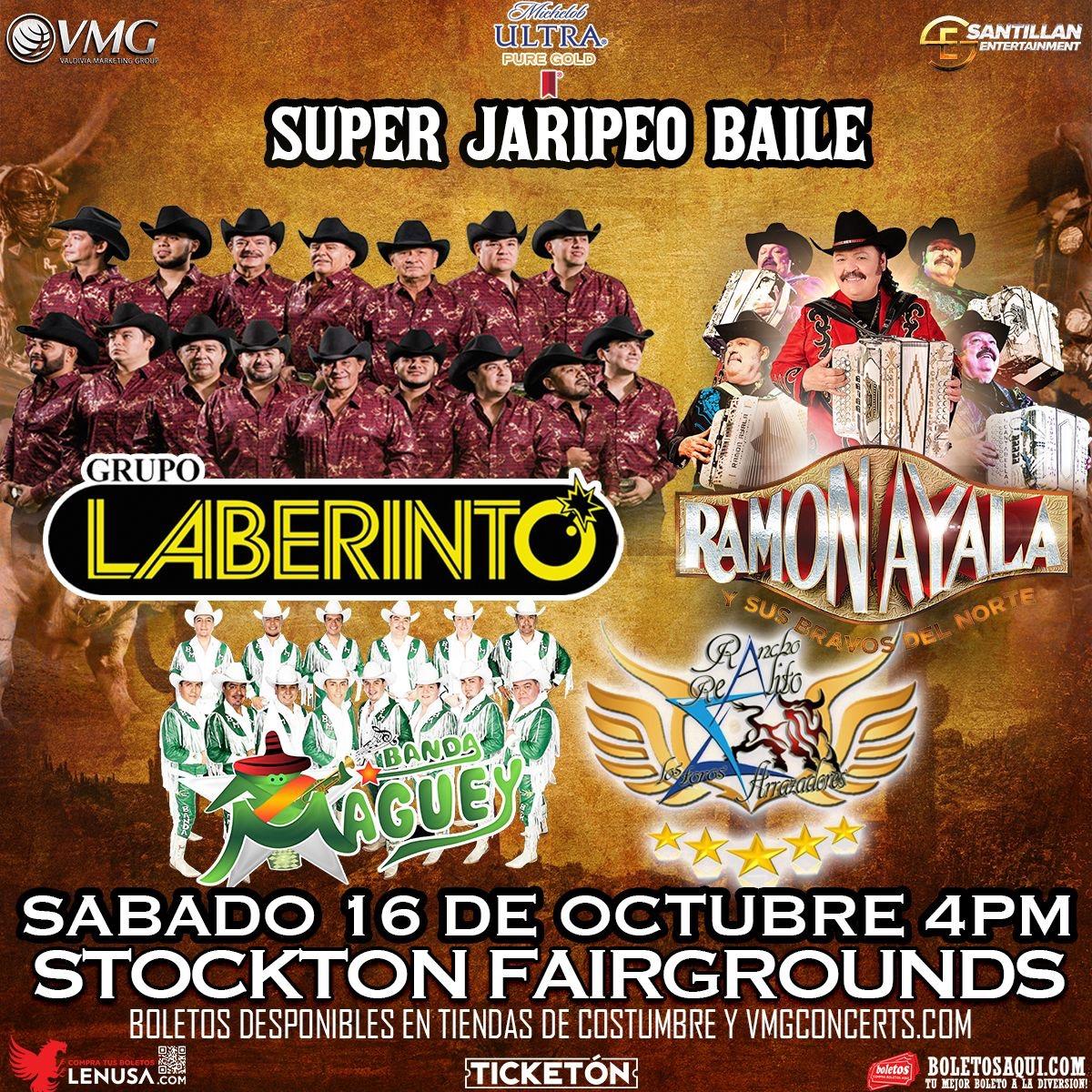 Super Jaripeo Baile con Grupo Laberinto, Ramon Ayala y Banda Maguey. Rancho Realito los toros arrazadores. – Terrenos de la Feria de Stockton – Stockton, CA